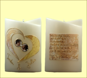 Hochzeitskerze lila gr n mit kerzen f r trauzeugen for Schlafzimmer lila gra n